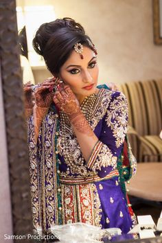 A bride gets dressed to the nines for her big day! Red Purple and Teal wedding outfit Muslim Wedding Photos, Indian Wedding Photos, Indian Wedding Hairstyles, Wedding Pics, Indian Weddings, Wedding Ideas, Indian Bridal Wear, Asian Bridal, Indian Muslim Bride