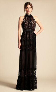 # Temperley London Black Long Lily Graphic Dress