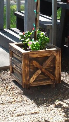 Free flower pot made from scrap wood I had..