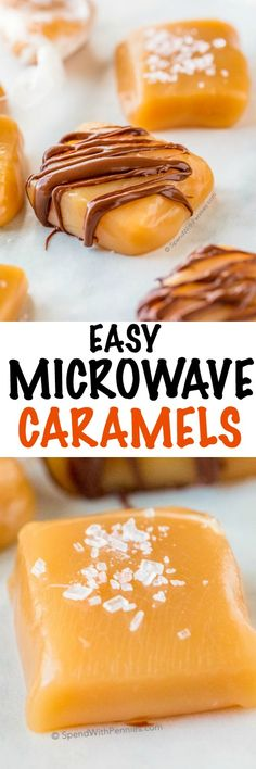 Simple and easy caramels made in the microwave with just one bowl and no candy thermometer! Sprinkle them with salt, dip or drizzle them with chocolate or wrap them in waxed paper to give as gifts! Microwave Caramels Spend With Pennies spendpennie Caramel Recipes, Candy Recipes, Sweet Recipes, Holiday Recipes, Dessert Recipes, Cookie Recipes, Easy Desserts, Delicious Desserts, Yummy Food