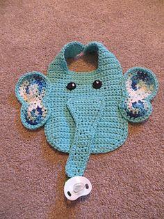 Ravelry: Elfie the Elephant Bib pattern by Jacqueline Victor Crochet Baby Bibs, Newborn Crochet, Crochet For Kids, Baby Knitting, Crochet Shaw, Quick Crochet Patterns, Baby Bibs Patterns, Knitted Baby Cardigan, Bib Pattern