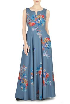 Painterly floral print sweetly patterns our flowy A-line maxi featuring a split scoop neckline and a figure-flattering seamed waist with a full flowing skirt.