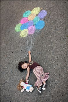 9 creative sidewalk chalk photos...this would be a fun activity-draw the pics, take photos, go print them out and put in frames to make a collage in kids' rooms