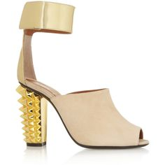 Fendi Metallic leather and suede sandals (9 640 UAH) ❤ liked on Polyvore featuring shoes, sandals, neutral, ankle strap sandals, metallic sandals, high heel shoes, leather sandals and nude shoes