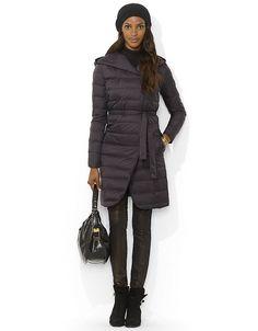 Lauren By Ralph Lauren Hooded Long Quilted Down Puffer in Black