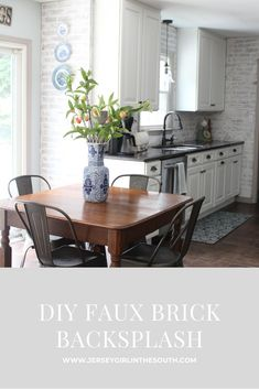 Adding a faux brick wall is an easy and inexpensive way to add character. In our home I chose to use it as a backsplash material in the kitchen but it could be installed in any room. It is one of my favorite DIY projects and I have received so many compliments on it. Brick Wall Kitchen, Faux Brick Backsplash, Kitchen Flooring, New Kitchen, Faux Brick Panels, Brick Paneling, Benjamin Moore Kitchen, Brick Show, New Panel