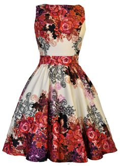 Red Rose Floral Collage on Cream Tea Dress - £45. Made in London. Sizes 8-18.