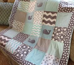 Gray Whale Baby Quilt Super Soft & Cozy by Lovesewnseams on Etsy, $154.00