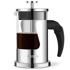 Ecooe Glass French Press Coffee Tea Maker with 4-filter 20 Oz Heat Resistant with Stainless Steel >>> More info could be found at the image url.
