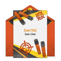 """One of our favorite free Birthday party invitations, """"Target Blast."""" Easily personalize and send via email for a Nerf birthday party."""