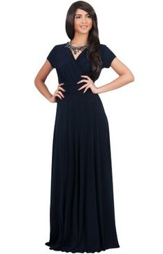 5d9f3158c974b Womens Long Sexy Cap Short Sleeve V-neck Flowy Evening Bridesmaid Maxi Dress