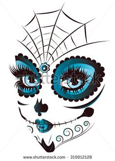Sugar skull girl face with make up for Day of the Dead (Dia de los Muertos).