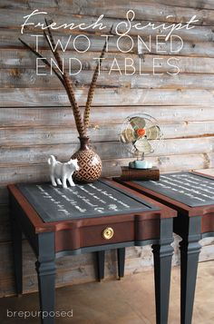French Script Two Toned End Tables. You have to check out the before & after's on this one - it's fabulous!