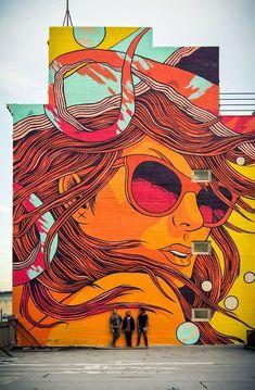 'Bicicleta Sem Freio' new colourful Pop Art styled Street Art / Mural located in Murals Street Art, 3d Street Art, Urban Street Art, Graffiti Murals, Amazing Street Art, Street Art Graffiti, Mural Art, Street Artists, Graffiti Wallpaper