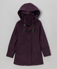 Look what I found on #zulily! Purple Toggle Hooded Coat - Toddler & Girls #zulilyfinds