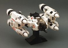 https://flic.kr/p/5yZe3w | GP-21 Shrike | I know, I know it's November and it is not a Vic Viper derivative. But I wanted to do something Gunstar/Starfury-ish for a while now. I also wanted it to be a tad 60's style space ( hence the predominately white color scheme). Canopy design stolen from brainbike.rider, thanks Stefan!