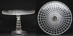 "Tall Cakes > Cake Stands > Riverside Glass > Block Diamond - Crystal  Mfr.: Riverside Glass Worksn YOP: 1887  OMN: #300R-Diamond Block  AKA: 	 Cube-Square Stem  Size: 10 1/2"" O.D. x 7 3/4"" H."