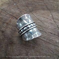 BOHO 925 Silver Ring-Gypsy Hippie Ring,Bohemian style,Statement Ring R050 JewelryBOHO,Handmade sterling silver BOHO Tribal printed ring