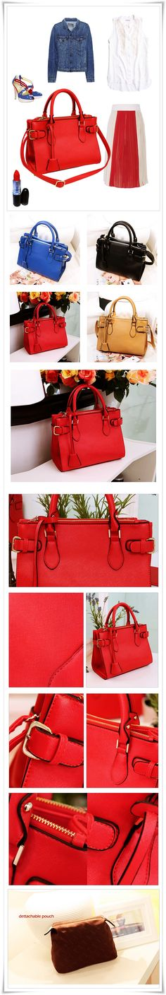 Saffiano Pattern PU Leather Handbag w/ Shoulder Strap & Detachable Pouch. Only $38 & Free Shipping! Available in Red, Blue, Beige, Black. #fashion #saffiano