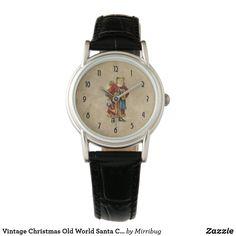 Vintage Christmas Old World Santa Claus Watch Classic Leather, Black Leather, Watch Faces, Old World, Vintage Shops, Vintage Christmas, Personal Style, Quartz, Santa