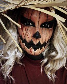 Costume Halloween, Scarecrow Halloween Makeup, Amazing Halloween Makeup, Halloween Costumes For Teens, Halloween Looks, Scarecrow Face Paint, Halloween Face Paint Scary, Diy Halloween Face Makeup, Scary Scarecrow Costume
