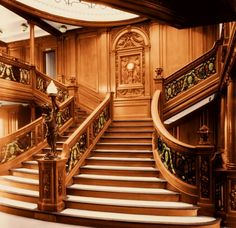 The centerpiece of the Titanic's decor was the Grand Staircase.  Beginning under an opulent, white-enameled, wrought-iron skylight on A Deck, it descended through four decks to the First Class entrance on D Deck, in an elaborate William and Mary style, surrounded by a Louis XIV balustrade.