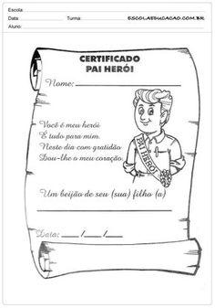 Atividade Dia dos Pais - Certificado de herói