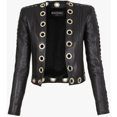 3b1e2aac Balmain Eyelets leather jacket ($3,580) ❤ liked on Polyvore featuring  outerwear, jackets,