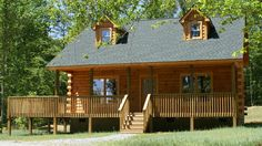 The 2-story, 1815 sq. ft. mid-sized Richfield log cabin floor plan has a very generous great room, open kitchen to dining area, 3 bedrooms and 2-1/2 baths.