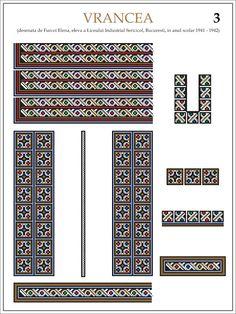 Semne Cusute: ie din VRANCEA (3)  Modele de ii Romanesti din caietul elevei Furcoi Elena, de la Liceul Industrial Sericicol Bucuresti, care a desenat aceste planse in clasa a VIII-a, anul scolar 1941 - 1942