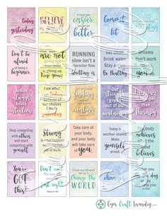 Printable Fitness Planner Stickers, Motivational quotes, fits Happy Planner and Erin Condren boxes, - Site Title Printable Planner Stickers, Printable Quotes, Printable Alphabet, Alphabet Letters, Free Printables, Happiness Challenge, Motivational Quotes, Inspirational Quotes, Positive Quotes