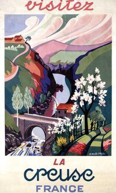 Vintage Travel Poster - La Creuse - France.