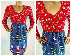 Ugly Christmas Sweater Dress Reconstructed Ugly by mwvintage