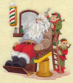 Santa at the Barber Shop design (E6873) from www.Emblibrary.com