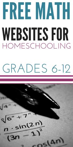 Math Websites for Homeschooling Grades 6-12 | This is an AMAZING resource for homeschooling middle school and high school. So much free videos and worksheets to add to your homeschool curriculum!!