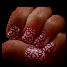 Valentine's day nails  cute^^