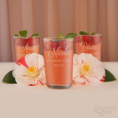 Flower Girl Personalized Juice Glasses including Engraved Glassware for your Recipient with Our Bridal Party Monogram Design Options (Each) by DesignstheLimit #TrendingEtsy