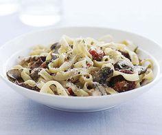 Fresh Pasta with Sausage and Mushrooms http://www.finecooking.com/recipes/fresh-pasta-sausage-mushrooms.aspx#reviews