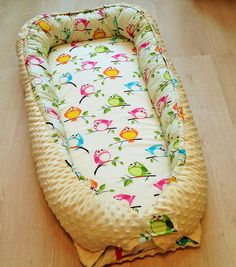 SALE Maxi toddler size baby nest yellow bird crib bedding