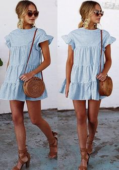 Women Plaid Print Ruffle Pleated Shift Swing Dress - Blue White, L Source by summer dress Preppy Summer Outfits, Summer Outfits Women, Stylish Outfits, Spring Outfits, Summer Vacation Outfits, Preppy Summer Style, Outfit Summer, Stylish Dresses, Classy Outfits