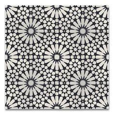 """Agdal 8"""" x 8"""" Handmade Cement Tile in Black/White"""