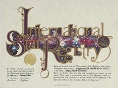 Edgar Anahit Kasumian - Sagittarius - Name a Star : Buy a Star : International Star Registry : Order@ starregistry.com