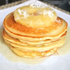 Made with coconut flour and GF all purpose flour - Piña Colada Pancakes from Mom What's For Dinner