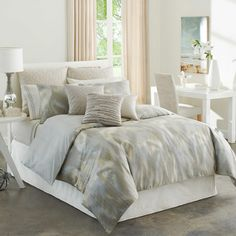 Refresh your master suite or guest room with this lovely comforter set, showcasing a faded neutral motif for eye-catching appeal.  P...