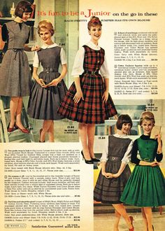 The Swinging Sixties : The 1958 Spring/Summer Sears Catalog late era day dress office school matching sweater full skirt pencil red white pink black plaid floral models magazine print ad 1950s Fashion Teen, Vintage Fashion 1950s, Mode Vintage, Retro Fashion, Fashion Fashion, Vintage Hats, Fashion Black, Victorian Fashion, Fashion Ideas