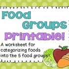 This is a free worksheet for students to practice organizing foods into the 5 food groups!  ...