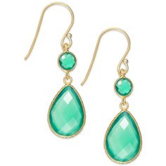 Studio Silver 18k Gold over Sterling Silver Green Agate Drop Earrings... ($55) ❤ liked on Polyvore featuring jewelry, earrings, drop earrings, sterling silver jewellery, sterling silver drop earrings, earring jewelry and 18k earrings