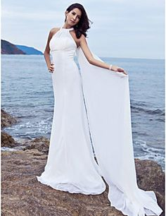 Lan Ting Sheath/Column Plus Sizes Wedding Dress - White Sweep/Brush Train Halter Chiffon