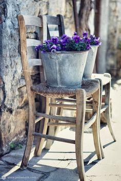 zinc buckets + purple flowers | collectibles + home decor
