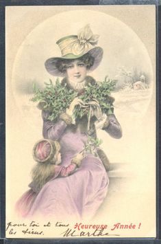 QP022 MM VIENNE Nr156 uns WICHERA MOTHER & DAUGHTER LADY HAT MISTLETOE 1906